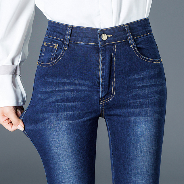 2019 Women High Waist Jeans Woman Stretch High Waisted Jeans Skinny Plus Size Ladies High Waist Straight Mom Jeans For Women