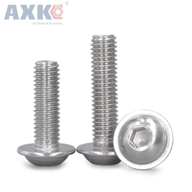20Pcs M3 M4 M5 M6 304 Stainless Steel Half Round Button Flange Head With Washer Inner Hex Socket Allen Screws Bolt