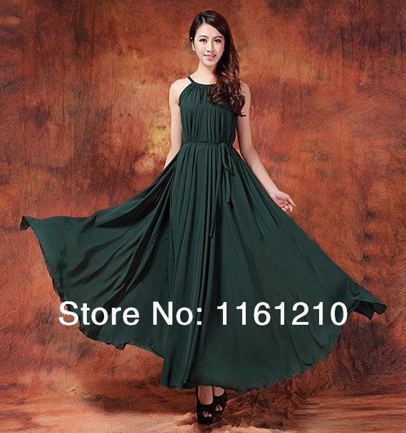 Dark Green Formal bridesmaid Wedding party Guest Maxi dress Holiday ...