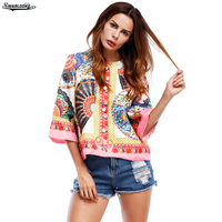 2017 Autumn Fall New Arrival Fashion Women Clothing O Neck Indie Folk Casual Print Floral Half