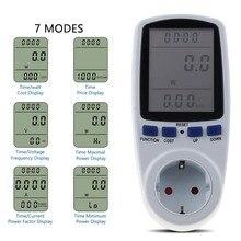 KEBETEME измеритель мощности переменного тока, 230 В, штепсельная вилка европейского стандарта, цифровой измеритель напряжения, ваттметр, анализатор мощности, электронный счетчик энергии, измерительная розетка