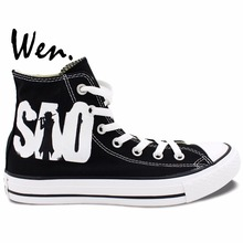 Wen Hand Painted Anime Shoes Sword Art Online Black High Top Men Women's Canvas Sneakers for Birthday Gifts