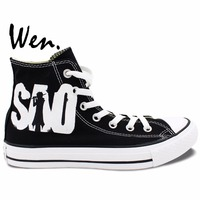 Black High Top Sword Art Online Painted Anime Shoes Men Women S Sneakers Canvas Shoes For
