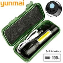 2019 New 1517 2000lm Built In Batttery Mini Flashlight Q5 & Cob Led Zoom Aluminum 4 Modes Torch Rechargeable Lantern Flashlight