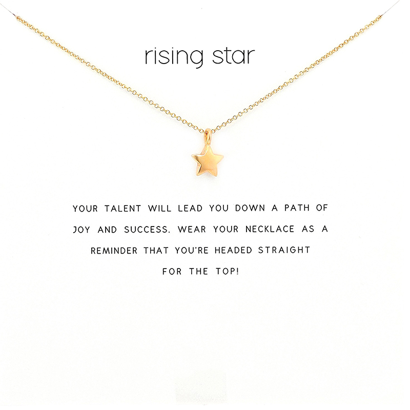 2018 New Five pointed Star Pendant Short Chain Choker Necklace For Women Golden wish necklace with card Jewelry As gift RISING -in Pendant Necklaces from Jewelry & Accessories on Aliexpress.com | Alibaba Group