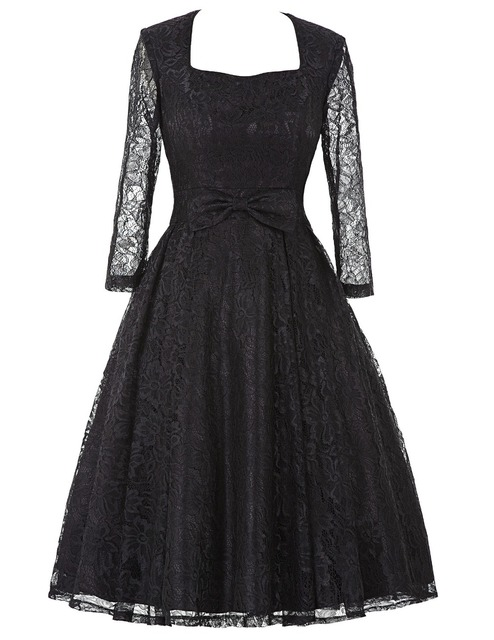 Womens Elegant Vintage black Lace sleeve Plus Size 50s Dresses Spring Autumn Party vestidos Retro robe Rockabilly Club Dress