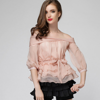 Tee Shirt Femme High Quality Runway Brand OL Ladies Blouses Solid Slash Neck Lantern Sleeve Bow