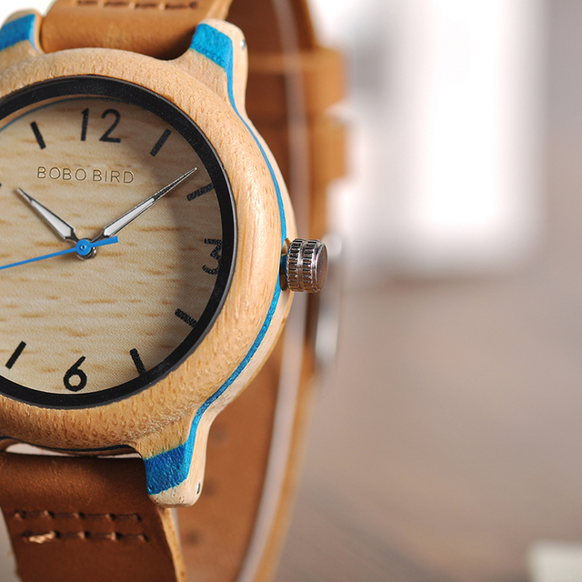 Wooden Bamboo Leather Couple Quartz Watches