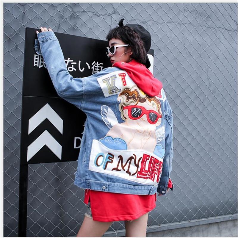 232acbf48f Bf G280 Mujer Bordado Primavera Estudiante Abrigo De Estilo Suelta Ropa  Coreano Blue Chaqueta Jeans Mezclilla Corto ...