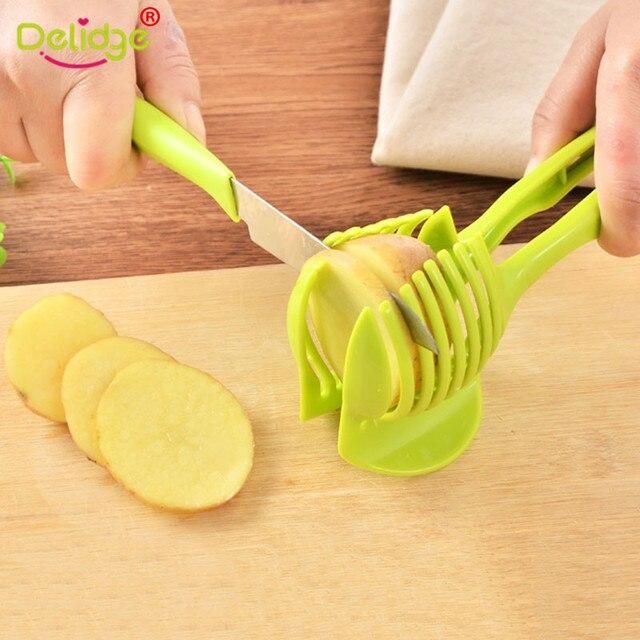 Delidge 1pc Tomato Slicer Fruits Cutter Stand Tomato Lemon Cutter Utensilios De Cozinha Assistant Lounged Shreadders Slicer