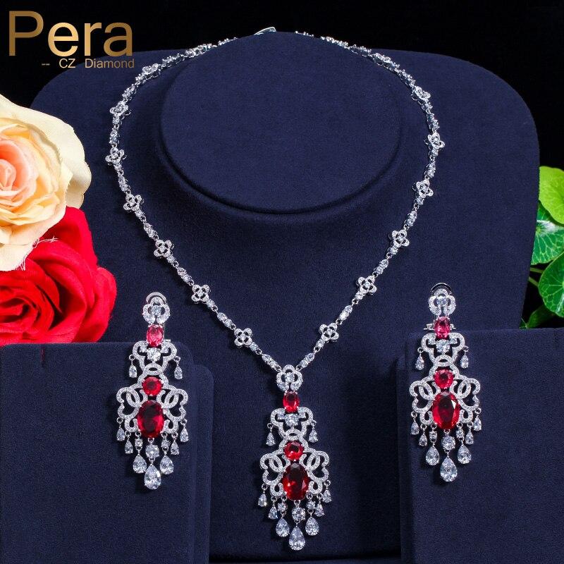 Pera Luxurious CZ Big Statement Long Dangle Dubai Women Wedding Party Gift Jewelry Sets With India