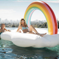 Hewolf 210CM PVC Summer Water Toy Cloud Pool Float Mat Inflatable Boat Swimming Float Air Mattresses Ring With Pump