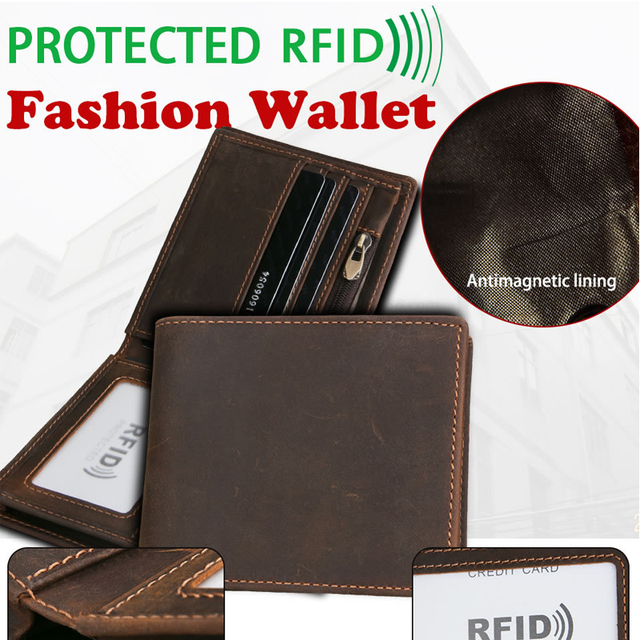 Mens Vintage Cow Genuine Leather Handmade RFID Wallet