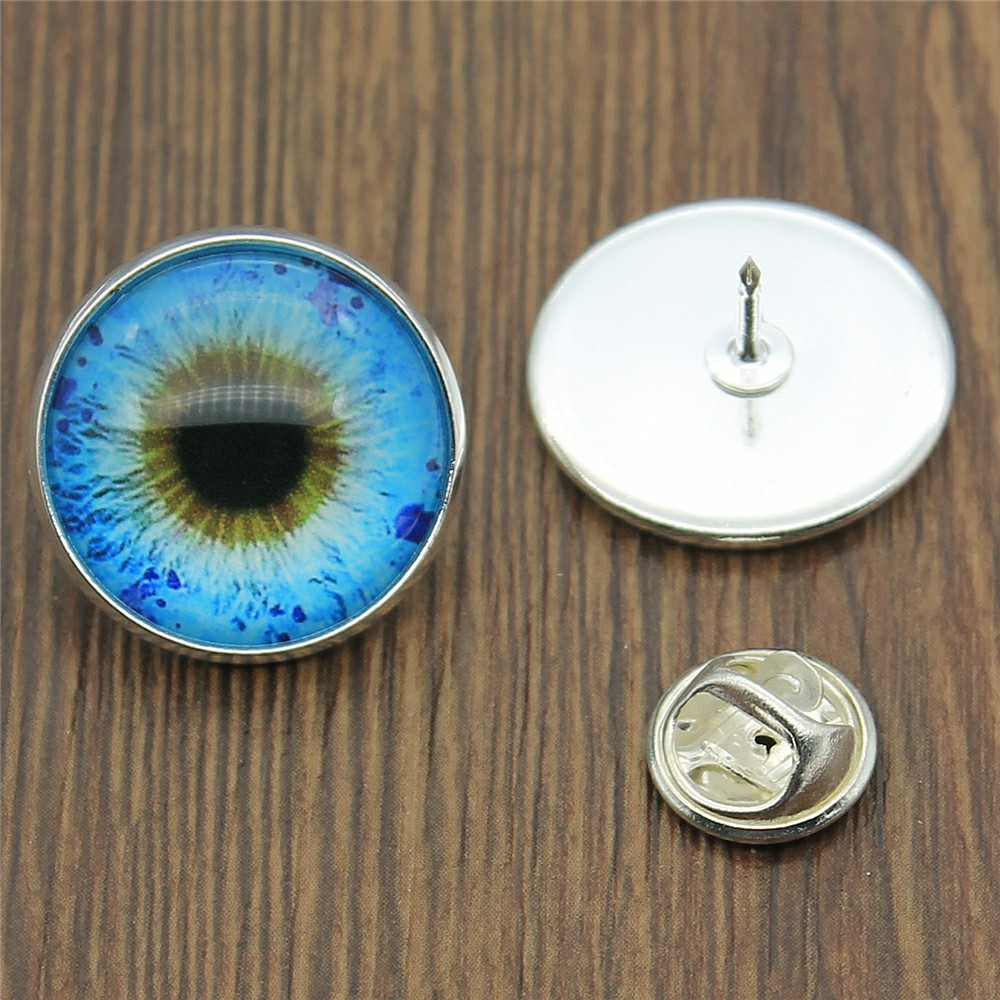 Jewelry & Accessories Blue Eye 20mm Glass Cabochon Brooches Pins 2 Colors Women Fashion Brooches Gifts Dropshipping Supplier