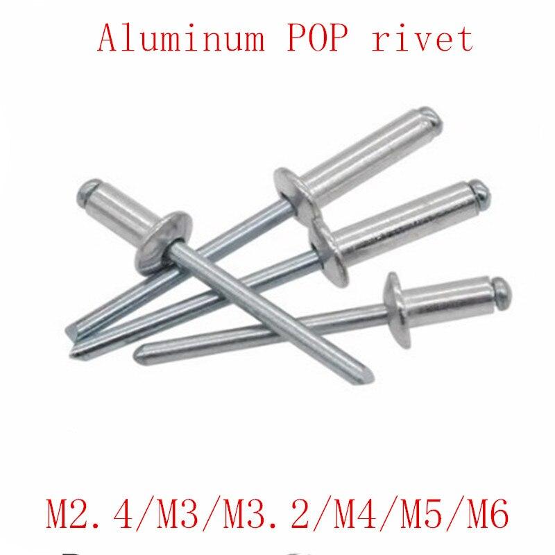 Aluminum Blind Pop Rivets Dome Head Open End M2.4 M3.2 M4 M5 Black
