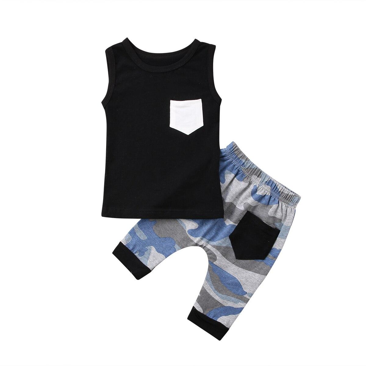 Для Новорожденных Для маленьких мальчиков девочек черный жилет топы Camo шорты с карманом 2018 летняя одежда нам