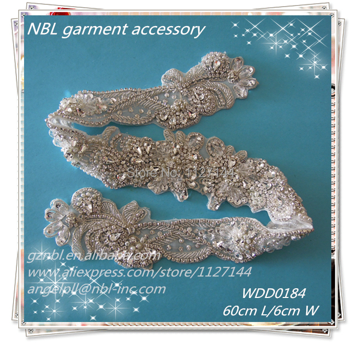 30pcs Wholesale bridal sash hand beaded sewing silver rhinestone appliques for wedding dresses DIY iron