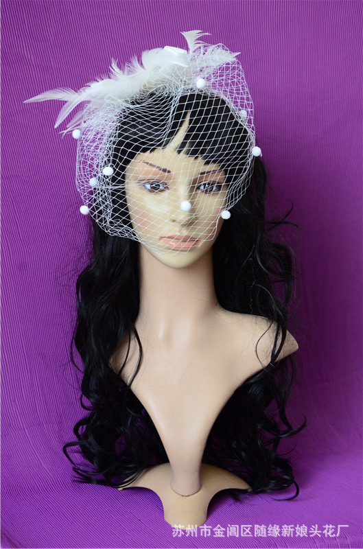 2018 Beige Bridal Hat with Pearls Linen with Lace Women Wedding Accessories Bride Hats handmade Tiara sheer veil Hair ornaments