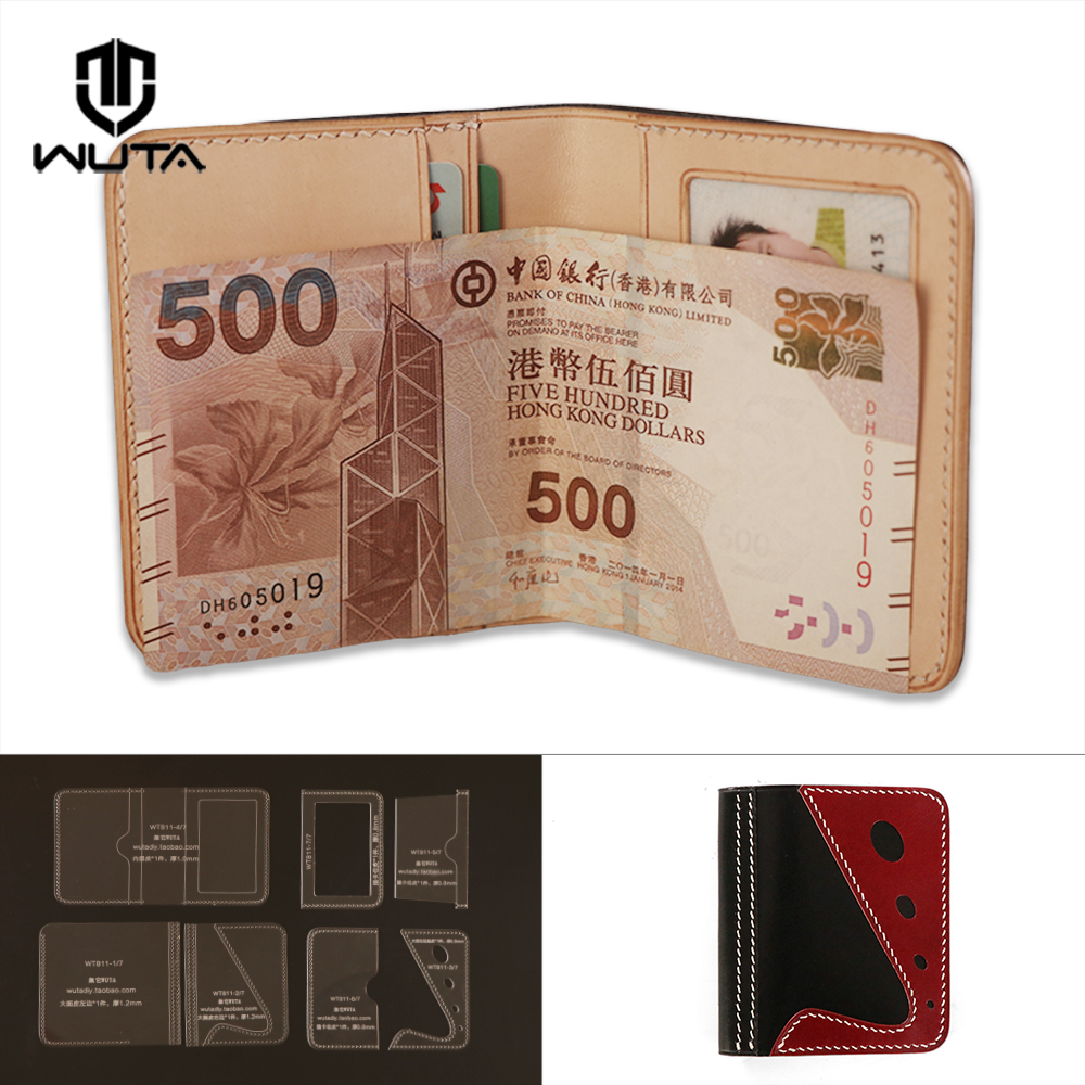 wuta leather mens bifold wallet pattern acrylic template wt915 c