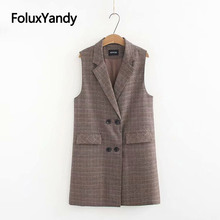 цена на Office Lady Sleeveless Vest Plus Size Double Breasted Plaid Long Vests Outerwear KKFY3094