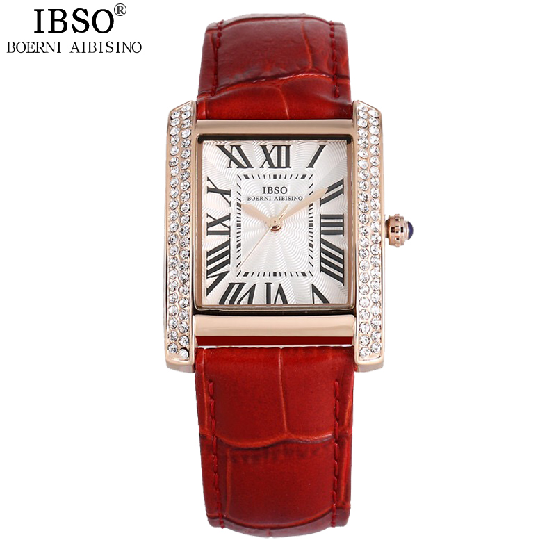 IBSO Rectangle Fashion Woman Watches 2018 Brand Luxury Crystal Diamond Party Genuine Leather Ladies Watch Woman Montre Femme цена 2017