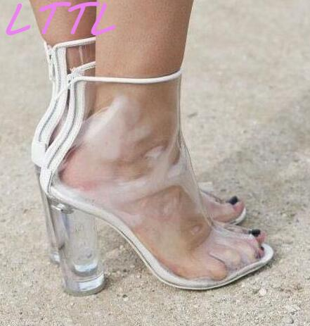 Women PVC Transparent Ankle Boots Peep Toe Shoes Clear Chunky Heel Ladies Summer Sexy Boots 2017 Newest Female Fashion Boots