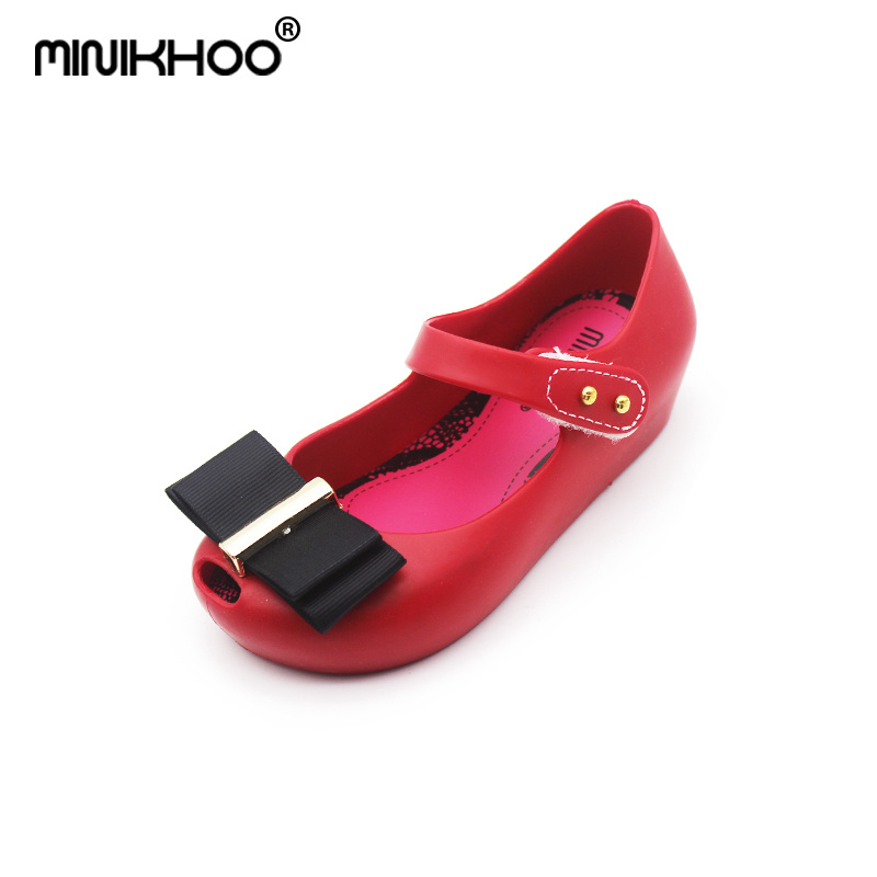 Mini Melissa 2 Color Cloth Bow Cute Girls Jelly Sandals 2018 New Baby Jelly Sandals Mini Melissa Jelly Shoes 15cm-18.5cm