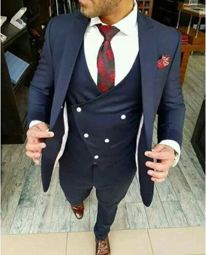 Navy Blue Wedding Suits For Men Mens Suits Designers Slim Fit Business Party Prom Blazer 3 Pieces Suit Men Costume Homme Mariage in Suits from Men 39 s Clothing