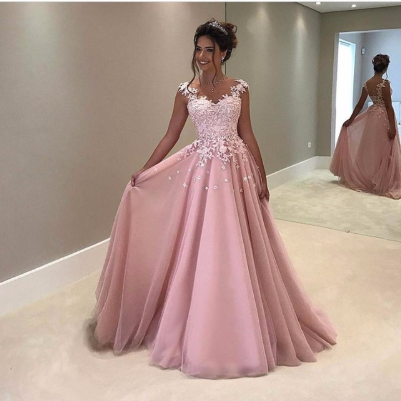 Simple Pink Long   Prom     Dresses   Lace Appliques Tulle Junior Evening   Dresses   A-line Formal Party   Dress   Robe De Soiree 2019
