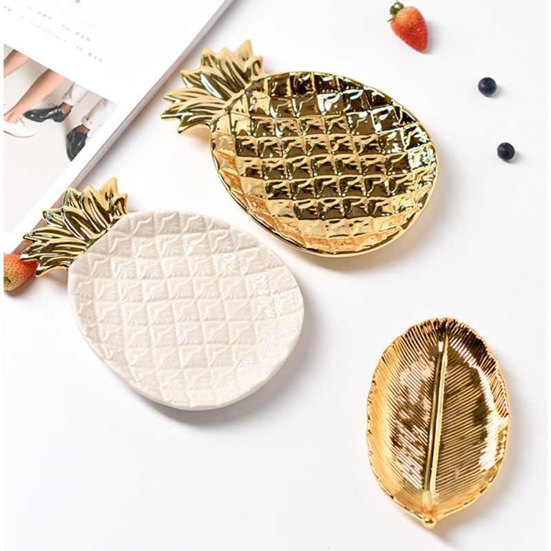 Stile nordico Oro Ananas Frutta Dolce Dei Monili del Piatto di Modo Geometrica Vassoio di Tavolo Da Pranzo Per La Casa Della Decorazione Artigianato