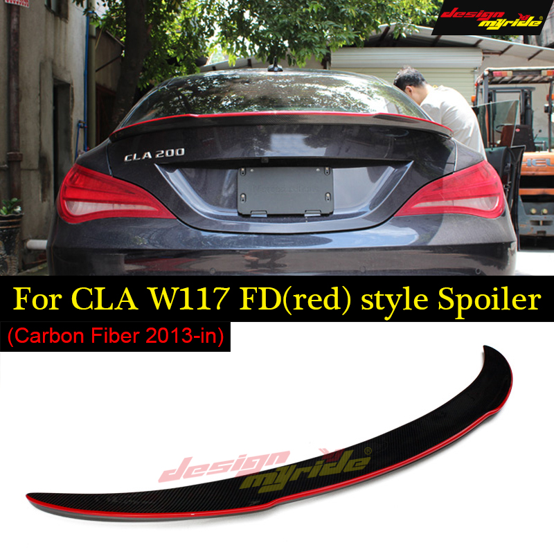 2013-in For Mercedes CLA W117 Spoiler FD Style Tail Carbon Fiber Rear Wing Spoiler with red line CLA200 CLA220 CLA250 CLA45 AMG mercedes cla w117 amg style replacement cf rear trunk wing spoiler for benz 2013 cla 180 cla200 cla 250