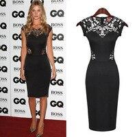 אירופה אופנה נשים הלבשה שרוולים מועדון הלילה שחור כוכב שמלת תחרה שמלת ירך # חבילת 002