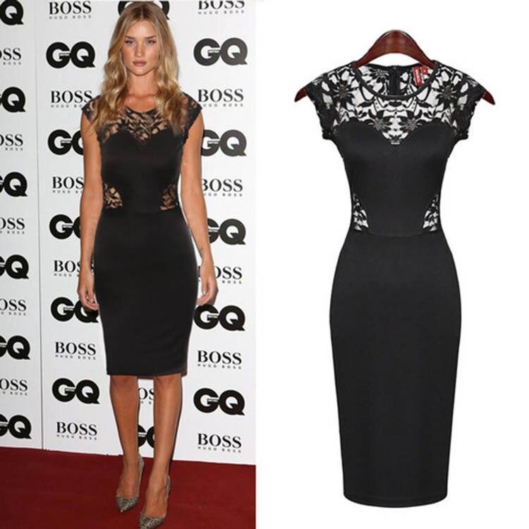 Européenne de mode de femmes vêtements discothèque sans manches noir dentelle robe étoiles paquet hanche robe #002