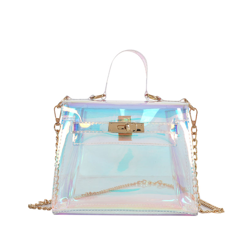 Laser messenger bags candy women fashion jelly Transparent handbag Plastic shoulder bags hasp Lock Chains handbags holographic Сумка