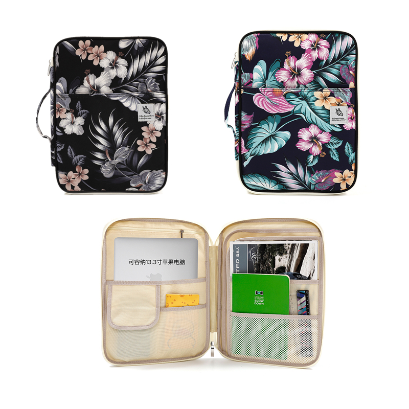 Flower Waterproof Nylon Document Bag For Notebook IPad Laptop Large Capacity File Bag Handbag Portable Storage Bag Sationery