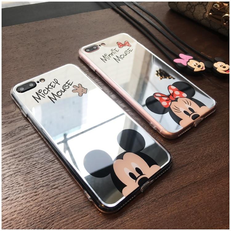 HTB1aXbLhO0TMKJjSZFNq6y 1FXat - Minnie Mickey Mouse Mirror Case for iPhone 6 s 6S X 10 7 8 Plus 6Plus 6sPlus 7Plus 8Plus SE 5S Cover silicone PTC 333