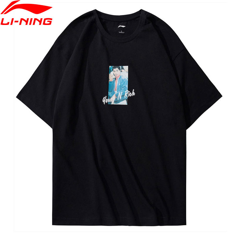 T-Shirt homme li-ning NYFW m. Li OG T-Shirt imprimé coupe régulière doublure respirante maillots de Sport AHSN743 MTS2762