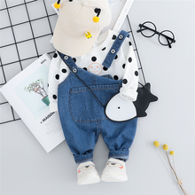 New Autumn Baby Girls Clothing Sets Toddler Infant Clothes Suits Polka Dot T Shirt Bib Pants Kids Children Costume Kids Suit стоимость