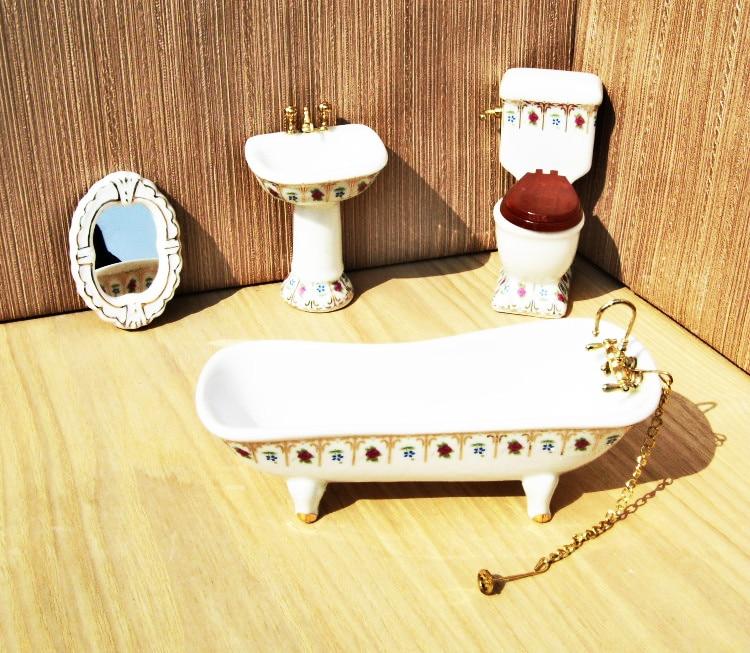 4PCS 1/12 Miniature Dollhouse Children Doll House Bathroom Furniture Set Bath kids Play Pretend Toys