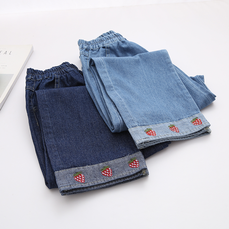 sweet strawberry embroidery  straight pants elastic waist jeans female trousers autumn sweet strawberry pattern safety pet dog physiological pants