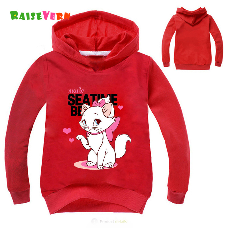 New Cute Marie Cat Print Sweatshirts For Girls Long Sleeve Winter Hoodies Kids Sweater Cartoon Anime T-shirt For Lolita Children