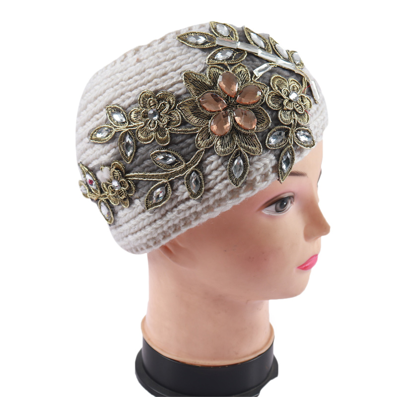 Women Wide Knitted Wool Headband With Rhinestone Floral Autumn Winter Outdoor Warm Ear Stretch Hair Band Headwrap