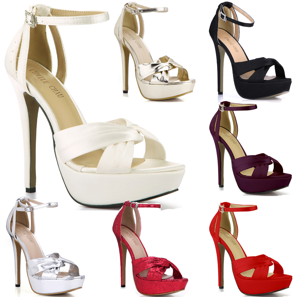 CHMILE CHAU Ivory Satin Elegant Wedding Party Women's Shoes Open Toe Stiletto Heel Dating Platform Sandals With Buckle 3463SL-b1