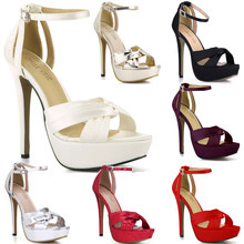 CHMILE CHAU Ivory Satin Elegant Wedding Party Women's Shoes Open Toe Stiletto Heel Dating Platform Sandals with Buckle 3463SL-b1(China)