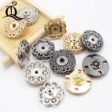 10 шт Металлические Кнопки 18-25 мм Кнопки Застежки цветок Невидимые для пальто кнопки Мода швейная одежда пряжка для костюма золото серебро