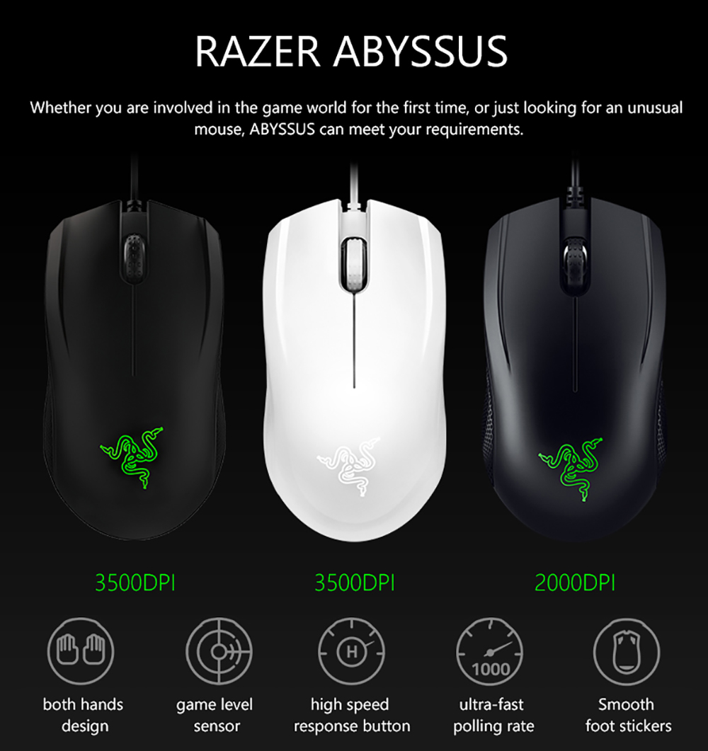 razer abyssus 3500 dpi optical sensor gaming mice with usb wired independently programmable buttons Razer Abyssus 3500 DPI Optical Sensor Gaming Mice HTB1aXcJgBcHL1JjSZFBq6yiGXXaJ