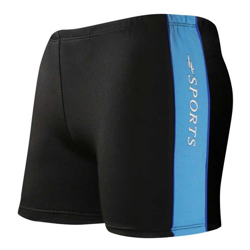 Laamei 2019 Summer Stripe Pattern Men Swimming Shorts Quick Drying Swim Black Blue Beach Wear Briefs Swimsuit Plus Size XXXL