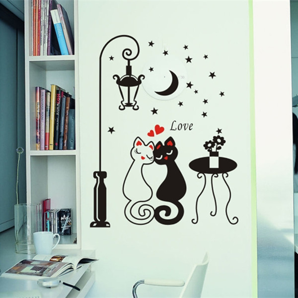 fashion home decor living room bedroom wall stickers lovers cat