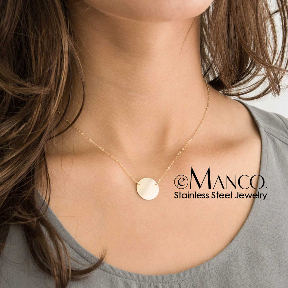 e-Manco Ladies Korean Style Chokers Necklaces for women Stainless Steel Necklace Round Pendant Simple Necklace