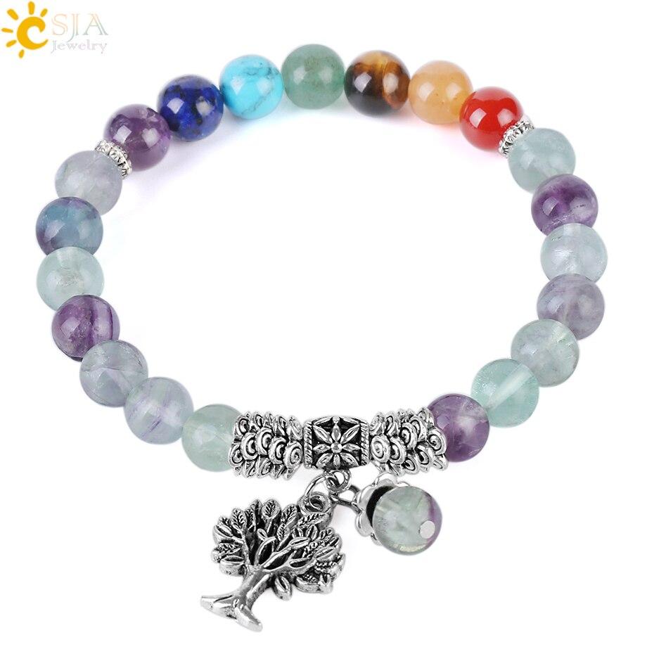 100% Wahr Csja 8mm Fluorit Naturstein Perlen Armbänder Für Frauen Yoga 7 Chakra Meditation Strang Armband Charms Hand Schmuck F344 Krankheiten Zu Verhindern Und Zu Heilen